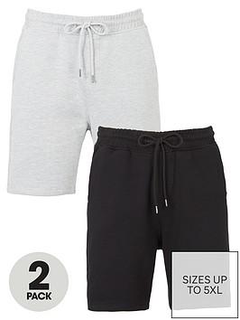 very-man-2-pack-essential-jog-short-grey-marl-amp-black