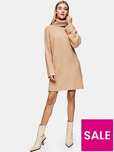 topshop-plaited-funnel-neck-dress-camel