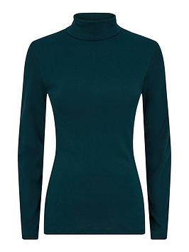 dorothy perkins organic roll neck top - forest green