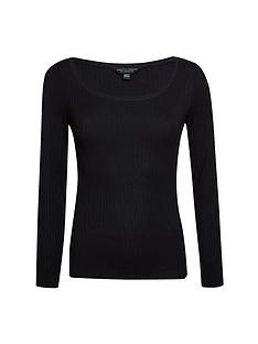 dorothy-perkins-organic-scoop-neck-rib-top-black