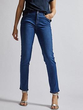 dorothy perkins short length mid wash ellis slim jeans - blue , blue, size 8, inside leg regular, women