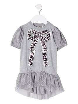 river-island-mini-mini-girls-sequin-spot-bow-t-shirt-dress-grey