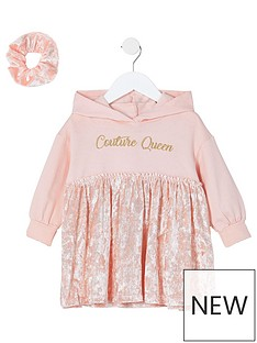river-island-mini-couture-queen-hoodie-dress-and-scrunchie--nbsppink