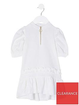 river-island-mini-girls-half-zip-frill-hem-dress--nbspwhite