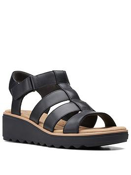 Clarks Jillian Quartz Leather Wedge Sandal Black