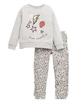 Mini V By Very Girls Sweat And Graffiti Legging Set - Grey