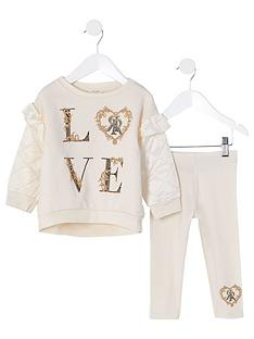 river-island-mini-girls-2-piece-quilted-sleeve-sweatshirt-and-leggings-set--nbspcream