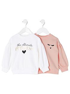 river-island-mini-girls-2-pack-balloon-sleeve-sweat-topnbsp--pinkwhite