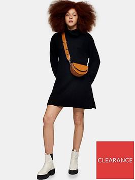 topshop-plaited-funnel-neck-dress-black