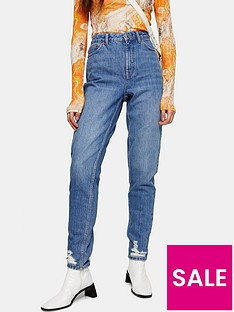 topshop-double-rip-mid-wash-mom-jeans--nbspblue