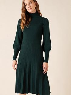 monsoon-recycled-polyester-pointelle-yoke-dress-green