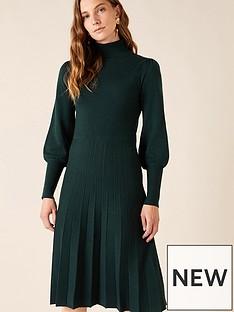 monsoon-recycled-polyester-pointelle-yoke-dress-green
