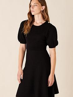 monsoon-button-detail-puff-sleeve-dress-black
