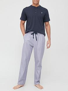very-man-henley-top-ampnbspstripe-bottomnbsppyjama-navy