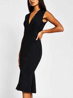river-island-v-neck-scuba-peplum-hem-midi-dress-black