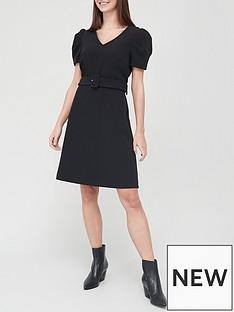 v-by-very-v-neck-ruched-sleeve-mini-dress-black