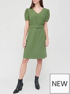 v-by-very-v-neck-ruched-sleeve-mini-dress-khaki