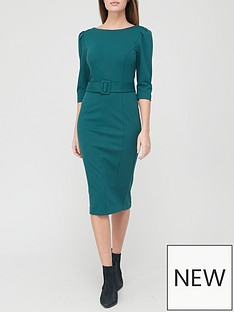v-by-very-ponte-belted-midi-dress-green