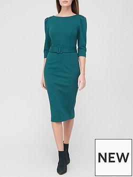 v-by-very-ponte-belted-midi-dress-green