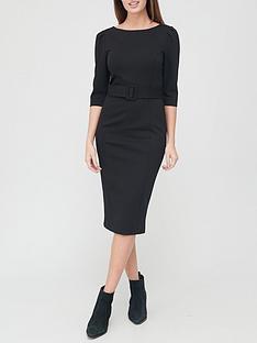 v-by-very-ponte-belted-midi-dress-black