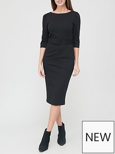 v-by-very-ponte-belted-midi-dress-black