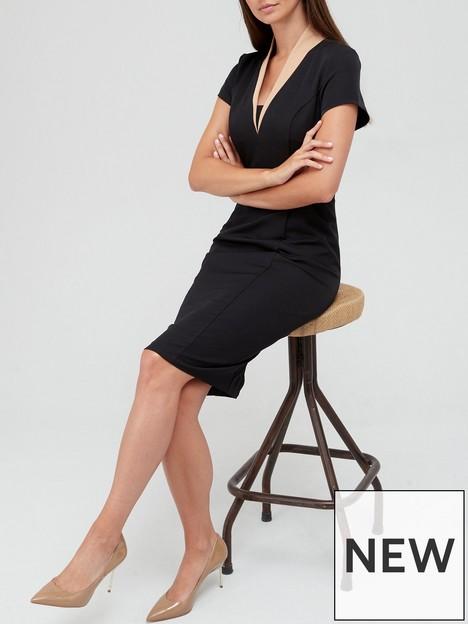 v-by-very-contrast-collar-pencil-midi-dress-black