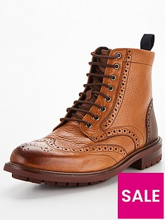 ted-baker-mensnbspbaellen-brogue-leather-boots-tan