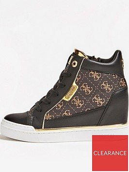 guess-fabia-hidden-wedge-high-top-trainers-brown