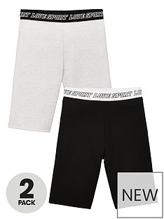 v-by-very-girls-2-pack-printed-waistband-active-cycling-shorts-blackgrey