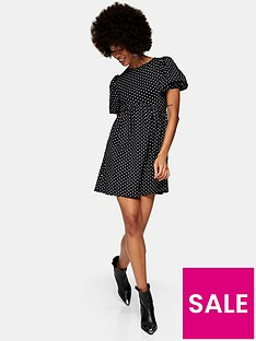 topshop-spot-babydoll-dress-black