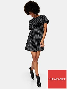 topshop-spot-babydoll-dress-black