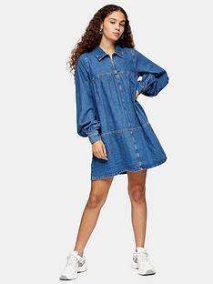 topshop-denim-babydoll-dress-blue