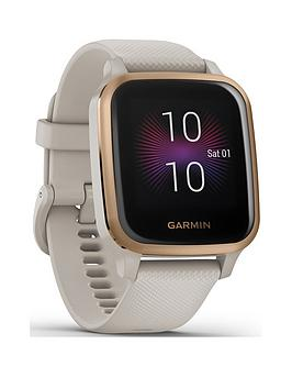 Garmin Venu Sq Music Edition, Gps Smartwatch With All-Day Health Monitoring - Rose Gold With Light Sand Band