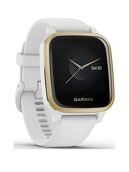 Garmin Venu Sq Gps Smartwatch With All-Day Health Monitoring - Light Gold With White Band