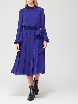 ted-baker-satin-pleated-midi-dress-blue
