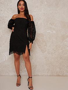 chi-chi-london-petite-kai-crochet-mini-dress-black
