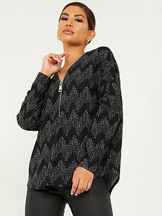 quiz-knit-chevron-zip-top-black