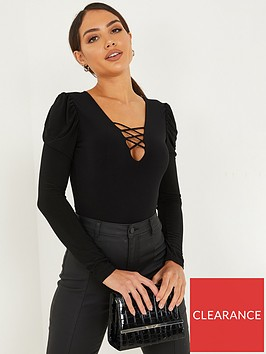 quiz-criss-cross-neck-puff-sleeve-bodysuit-black