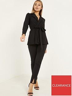 quiz-scuba-crepe-wrap-waist-blazer-black