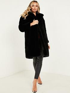 quiz-plush-faux-fur-long-line-coat-black