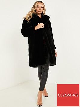 quiz-plush-faux-fur-long-line-coat-black