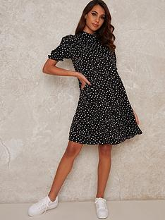 chi-chi-london-zora-puff-sleeve-smock-dress-black