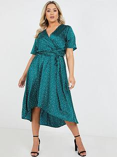 quiz-curve-satin-bottle-polka-dot-short-sleeve-wrap-midi-dress-green