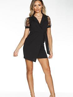 quiz-short-wrap-dress-with-animal-organza-sleeve-blacknbsp