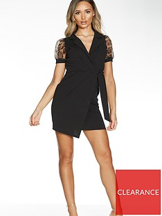 quiz-short-wrap-dress-with-animal-organza-sleeve-blacknbsp