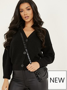 quiz-soft-knit-3-buttons-crop-cardigan-black