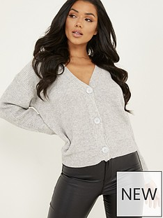 quiz-soft-knit-3-buttons-crop-cardigan-grey