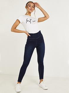 quiz-denim-stretch-high-waist-panel-detail-side-zip-jeans-blue