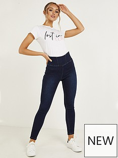 quiz-denim-stretch-high-waist-panel-detail-side-zip-jeans-blue