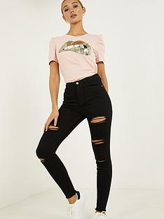 quiz-denim-ripped-skinny-jeans-black